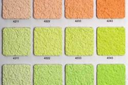 Для того, чтобы определиться с цветом штукатурки, необходимо нанести на фанеру необходимый рисунок и цвета, а затем выбрать понравившийся.