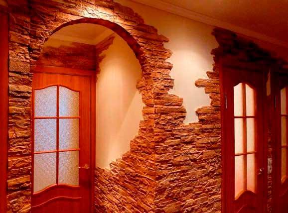 Технология отделки прихожей декоративным камнем
