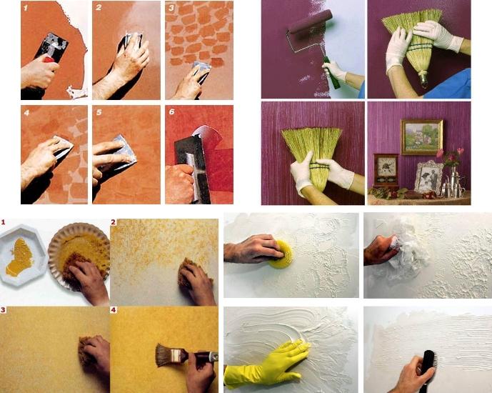 Этапы создания отделки для различных узоров декоративной штукатуркой