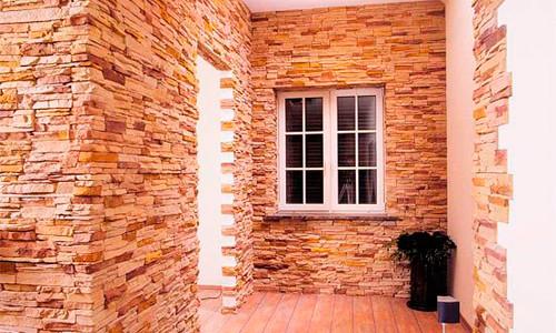 отделка входной двери декоративным камнем процесс облицовки